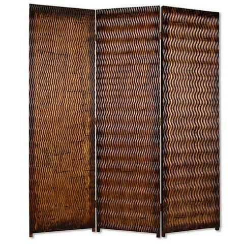 "72"" X 63"" Brown Wood 3 panel screen"