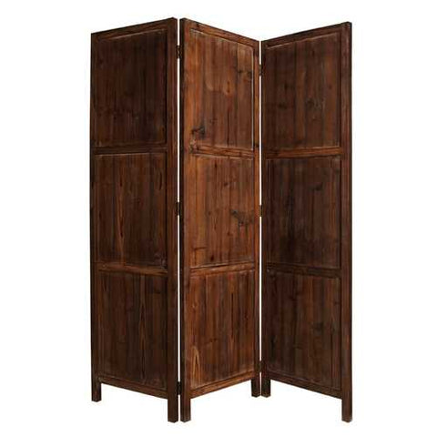 "72"" X 63"" Brown 3 panel solid wood Fortress Screen"