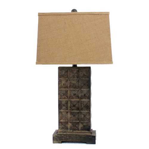 "30"" X 29"" X 8"" Brown Vintage Table Lamp With Distressed Metal Pedestal"