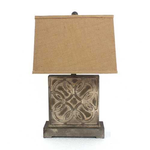 "25"" X 25"" X 8"" Brown Vintage Table Lamp With Khaki Linen Shade"