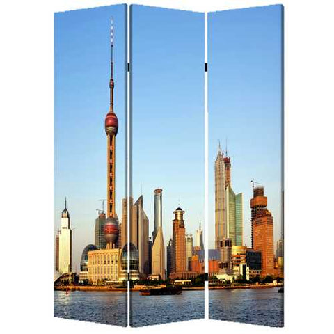 "48"" X 72"" Multi-Color Wood Canvas China Screen"