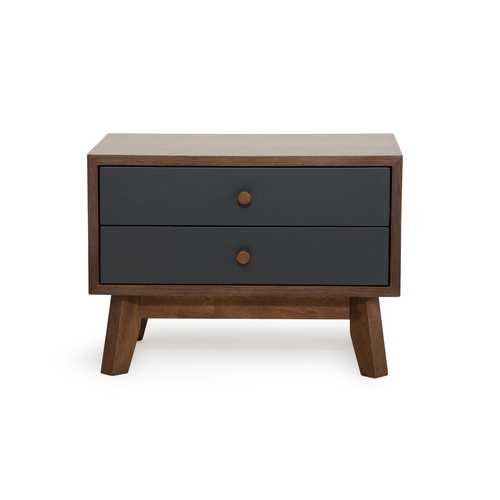 Modern Grey & Walnut Nightstand