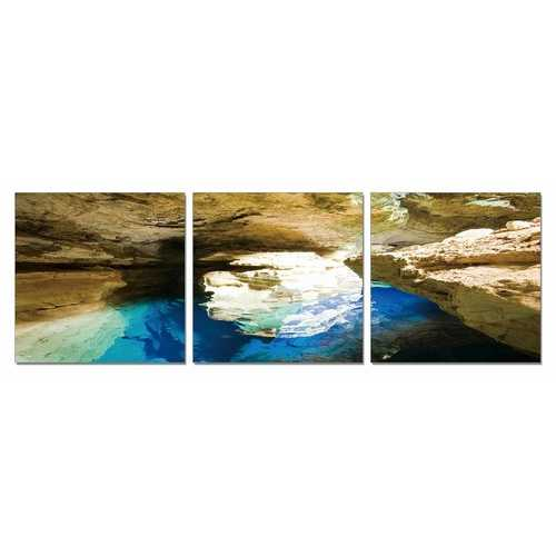 Blue Grotto 3-Panel Photo On Canvas