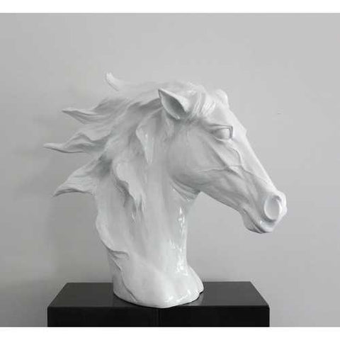 Modern White Horse Head Sculpture