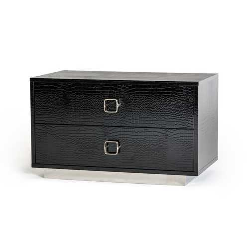 Modern Black Crocodile Nightstand