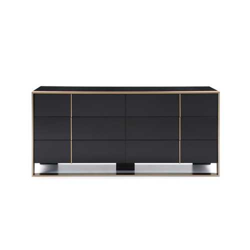 Modern Black & Brushed Bronze Dresser