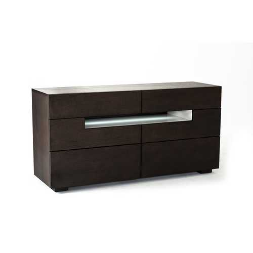 Contemporary Brown Oak And Grey Dresser W/ Led Light