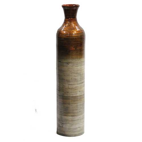 "32"" Spun Bamboo Bottle Vase - Bamboo In Metallic Orange & Natural Bamboo"