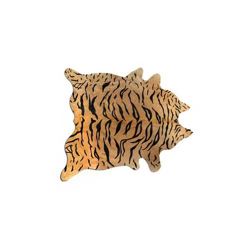Cowhide Rug Aprox  5' X 7' Tiger-Chocolate On Natural