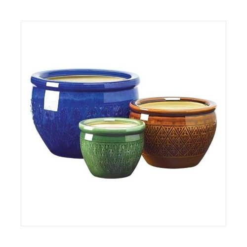 Jewel-tone Flower Pot Trio (pack of 1 SET)