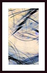 Brush Strokes 39 - Lightning - Inverted - Cropped, framed black wood, white matte