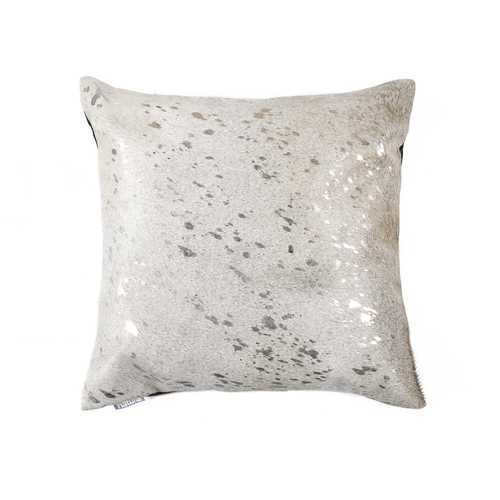 "Scotland Cowhide Pillow 18"" X 18"" - Grey & Silver"