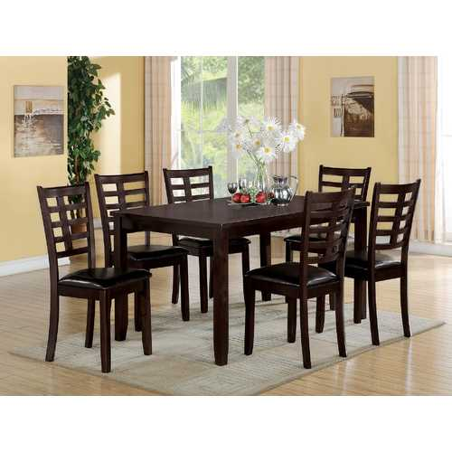 7Pc Pack Dining Set, Espresso - Pu, Solid Wood, Birch Ven Espresso