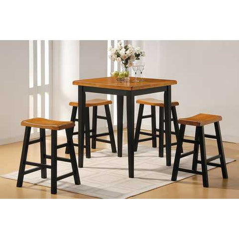 5Pc Pack Counter Height Set, Oak & Black - Rubber Wood (Solid) Oak & Black
