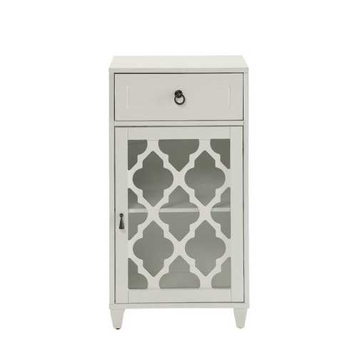 Floor Cabinet In White - Mdf, Glass White
