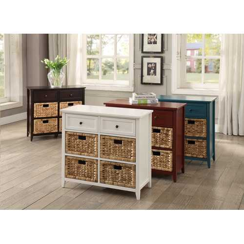 6 Drawers Accent Chest In White - Wood Veneer, Mdf White
