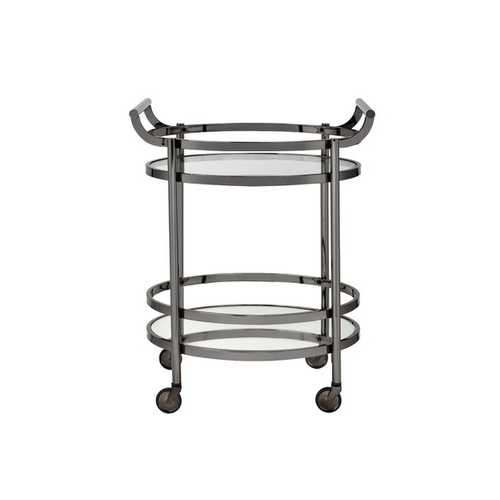 Serving Cart In Clear Glass & Black Nickel - Glass, Mirror, Metal Clear Glass & Black Nickel