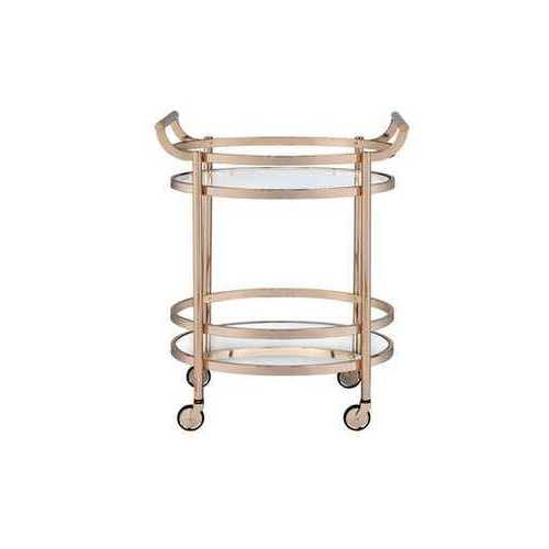 Serving Cart In Clear Glass & Rose Gold - Glass, Mirror, Metal Clear Glass & Rose Gold