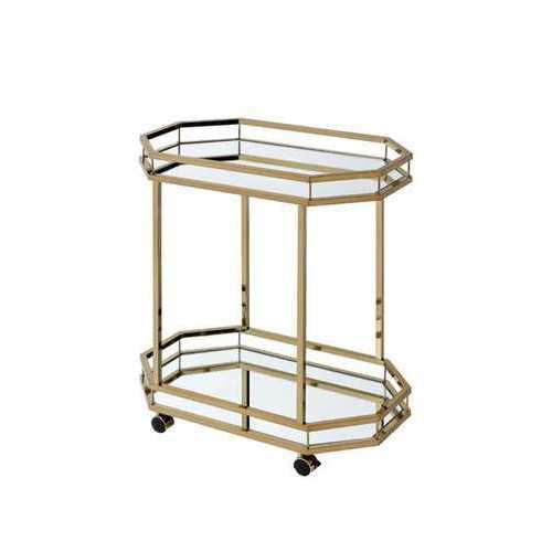 Serving Cart In Mirror & Champagne - Mirror, Metal Tube, Plast Mirror & Champagne