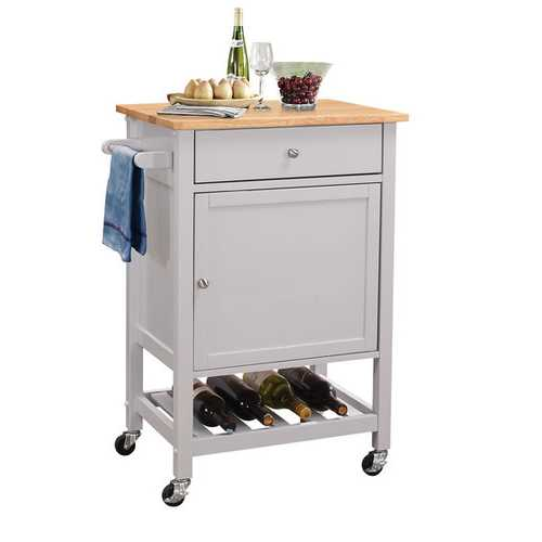 Kitchen Cart In Natural And Gray - Rubber Wood, Mdf Natural And Gray
