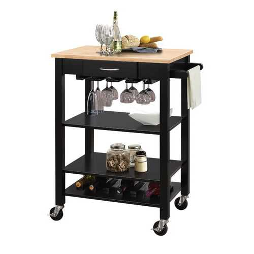 Kitchen Cart In Natural And Black - Rubber Wood, Mdf Natural And Black