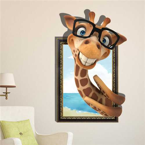 3D Smile Giraffe Wall Decals Removable Lovely Animal Wall Stickers Wall Art Decor