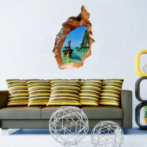3D Seascape Wall Decals Removable Attractive Scenery Wall Stickers Home Wall Decor
