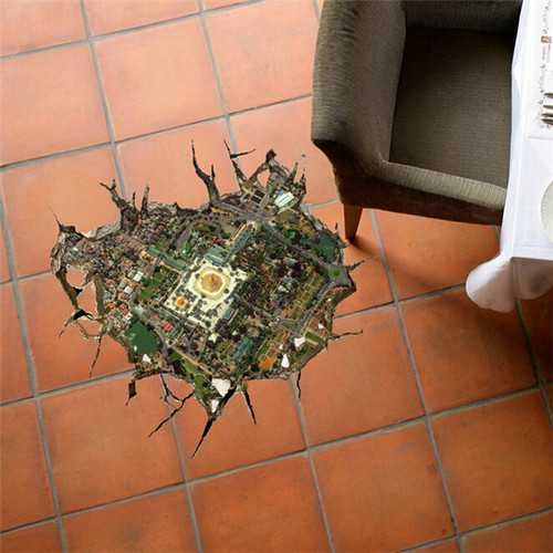 3D Floor Hole Decals Removable City Overlook Wall Stickers Home Floor Decor Gift