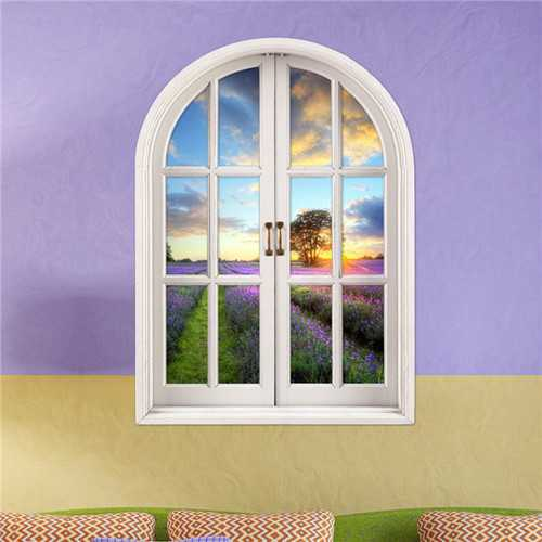 3D Lavender World Artificial Window View Wall Decals Removable Stickers HomeDecor Gift
