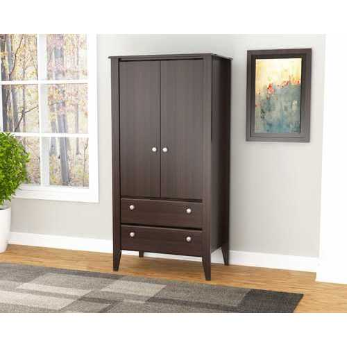 Two Door Two Drawer Wardrobe/Armoire - Melamine /Engineered wood