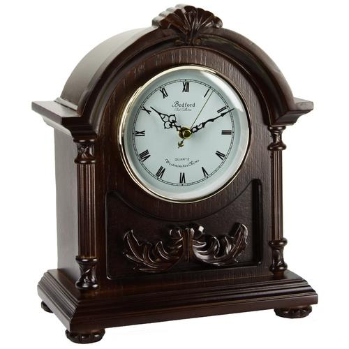 Bedford Clock Collection Wood Mantel Clock with Chimes