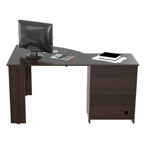 L Shaped Work Center with  Metal Legs and Two Drawers - Melamine /Engineered wood