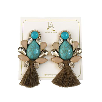 Mini Boho Chic Aqua Bronze Earrings