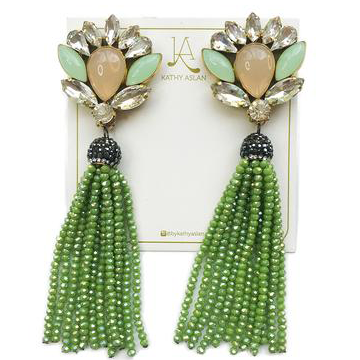Crystal tassel Green Earrings