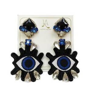 Pop Eye Black and Cobalt Blue Earrings