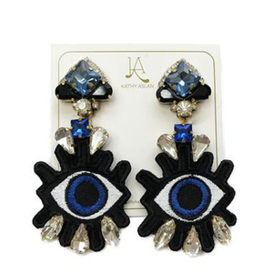 Pop Eye Baby Blue and Black Earrings