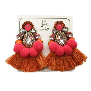 Pow Orange Hot Pink Earrings *