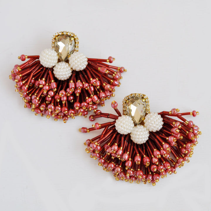 Mini Rain Wine Red Earrings