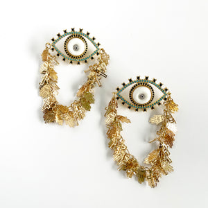 Golden Eye White Earrings