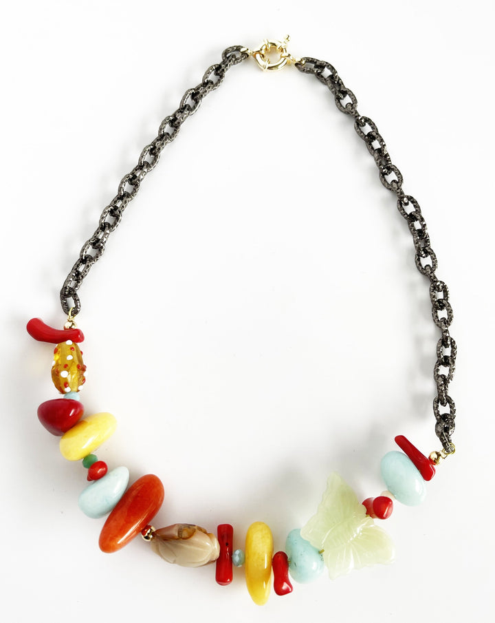 Unique Vintage Color Statement Necklace
