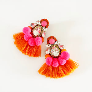 Pow Orange Hot Pink Earrings