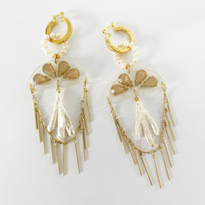 Luxe Coral Golden Earrings