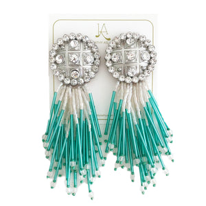 Crystal Cascade Aqua Blue Earrings
