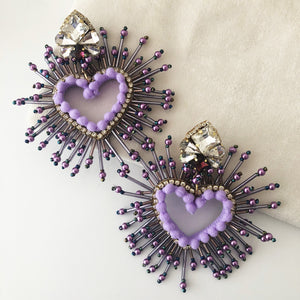 Love Hearts Purple Earrings