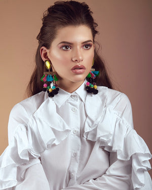 Sweet Black and Multicolor Earrings