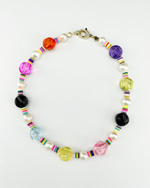 Saif Colorful Clear Statement Necklace