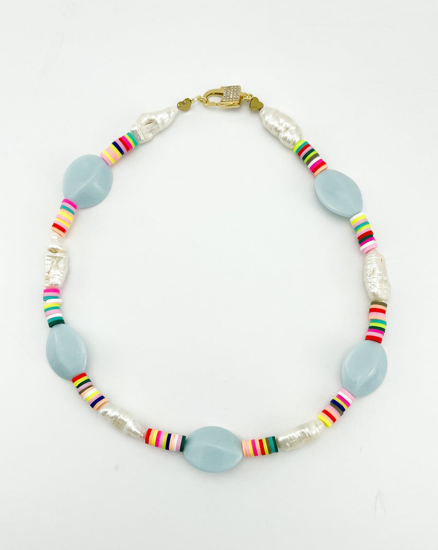Saif Baby Blue Statement Necklace