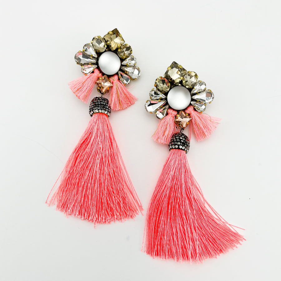 TASSEL PEACH NEON EARRINGS