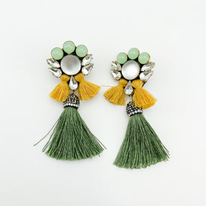 Mini Tassel Forest Green Earrings