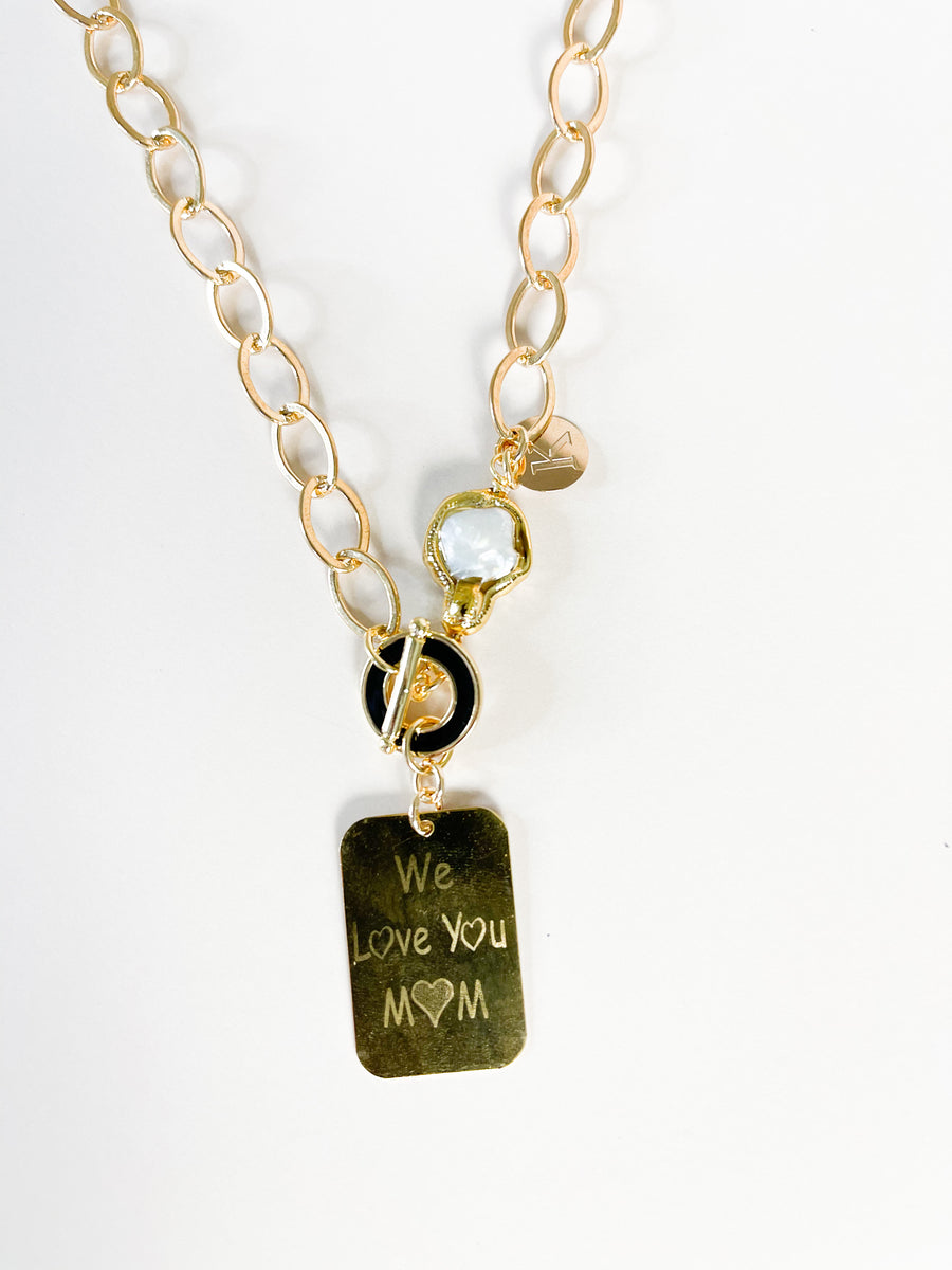Love Mom Golden Necklace